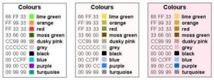 Sample selection of 10 distinguishable colours
